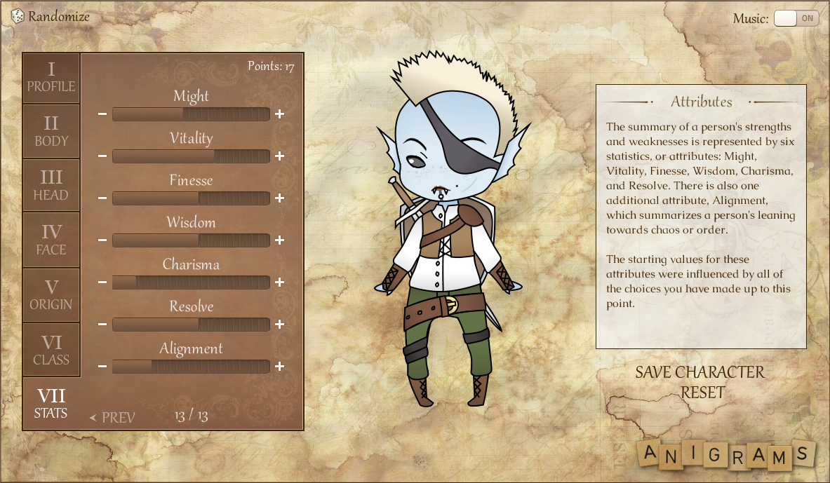 The Memoirs Character Creator - Anigrams Productions
